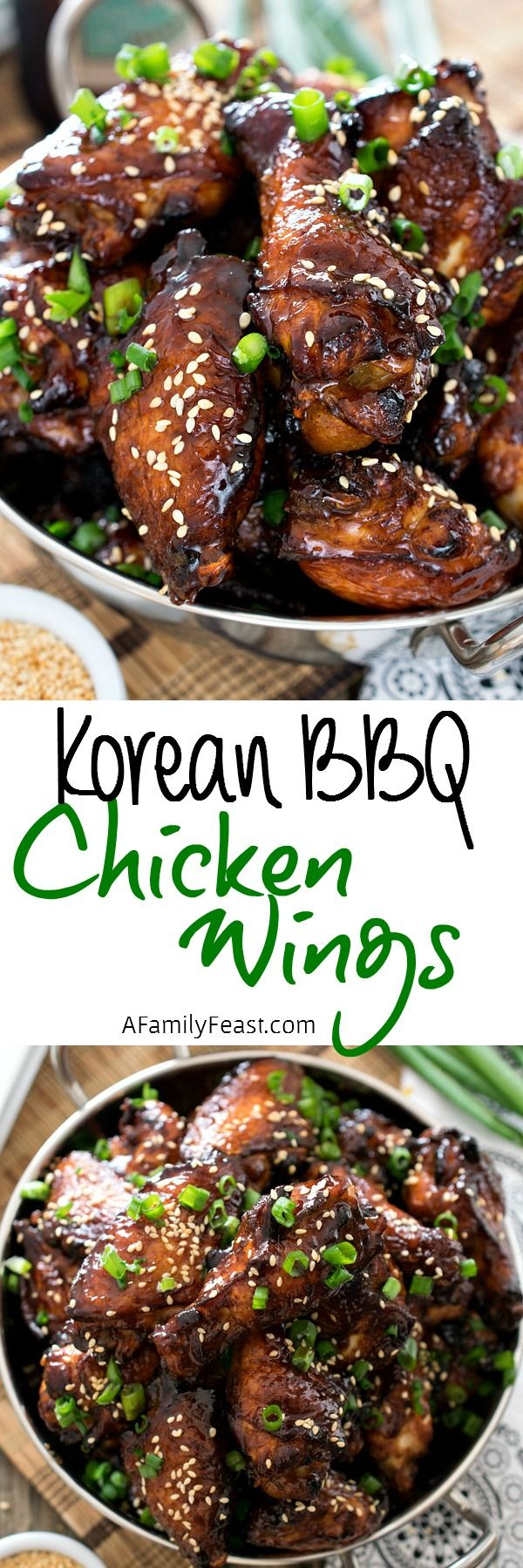 Korean Barbecue Chicken Wings - Super flavorful chicken wings inspired by the same flavors you'd find in Bulgogi. So delicious!