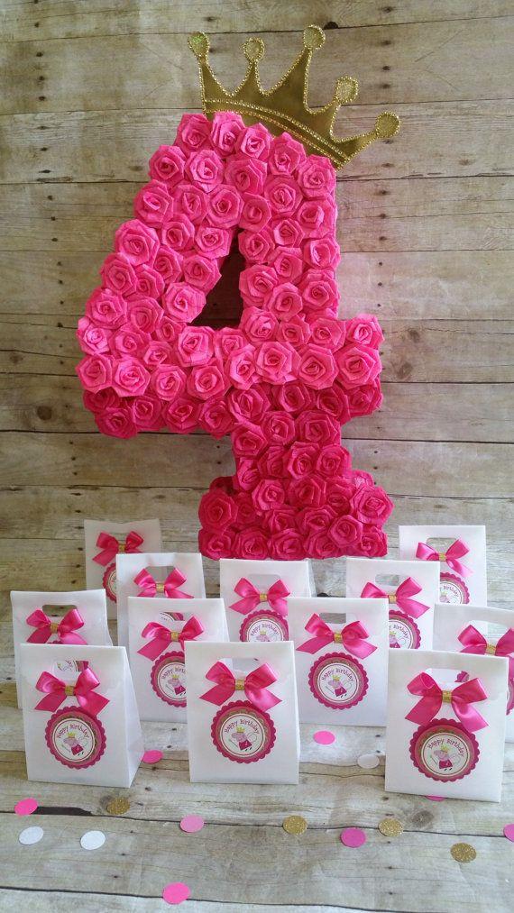 Número cuatro piñata piñata rosa caliente por HeidiPartyCreations