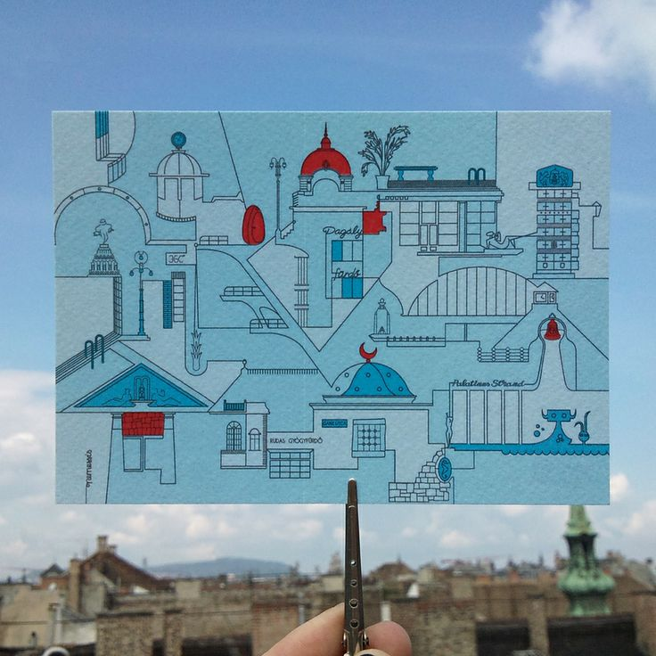 Bathing Budapest greeting card by nemessis