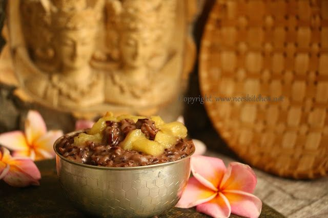 Black Rice Pudding - Try this simple and healthy pudding for the upcoming festivals. Black glutinous rice cooked with cocunut milk, palm sugar and served with banana's gives this drool worthy pudding. A famous dessert from Bali,Indonesia.