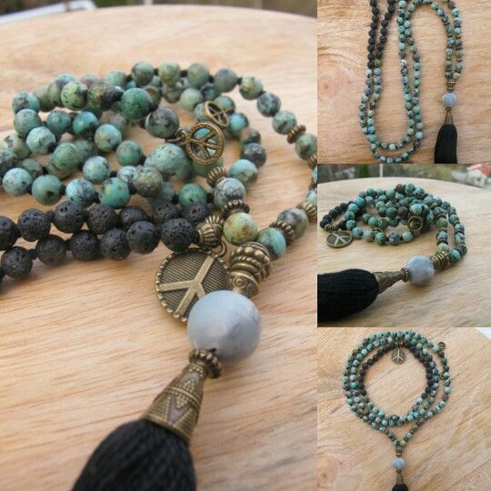 African Turquoise and lava with Black tassel and peace sign in the neck. Malabead necklace, Malabead Yogi.