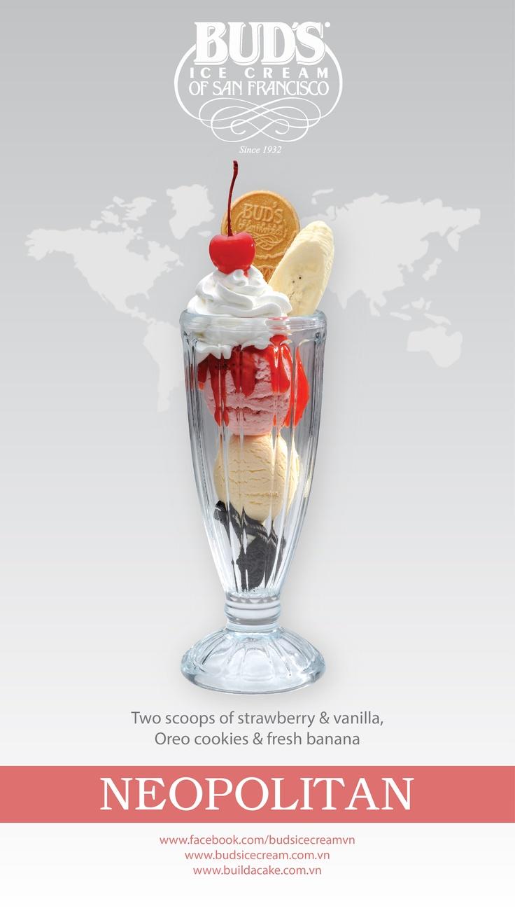 Signature Sundaes - Neopolitan: 2 scoops of Strawberry & Vanilla ice cream, Oreo cookies & fresh banana