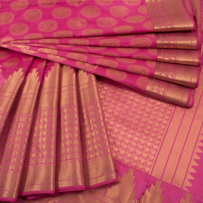 Buy online Handwoven Pink Kanjivaram Soft Silk Saree With Paisley Temple Border, Hamsa, Elephant & Horse Motifs 10013812