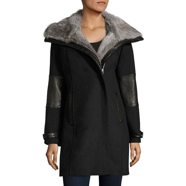 Andrew Marc Mara Rabbit Fur-Collar Coat (545 BRL) ❤ liked on Polyvore featuring outerwear, coats, andrew marc coats, collar coat, long fur lined coat, long sleeve coat and fur lined coat
