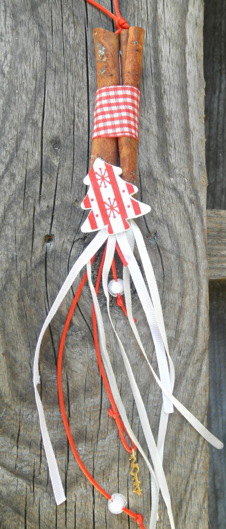 charm with cinnamons,ribbons,wooden tree,beads