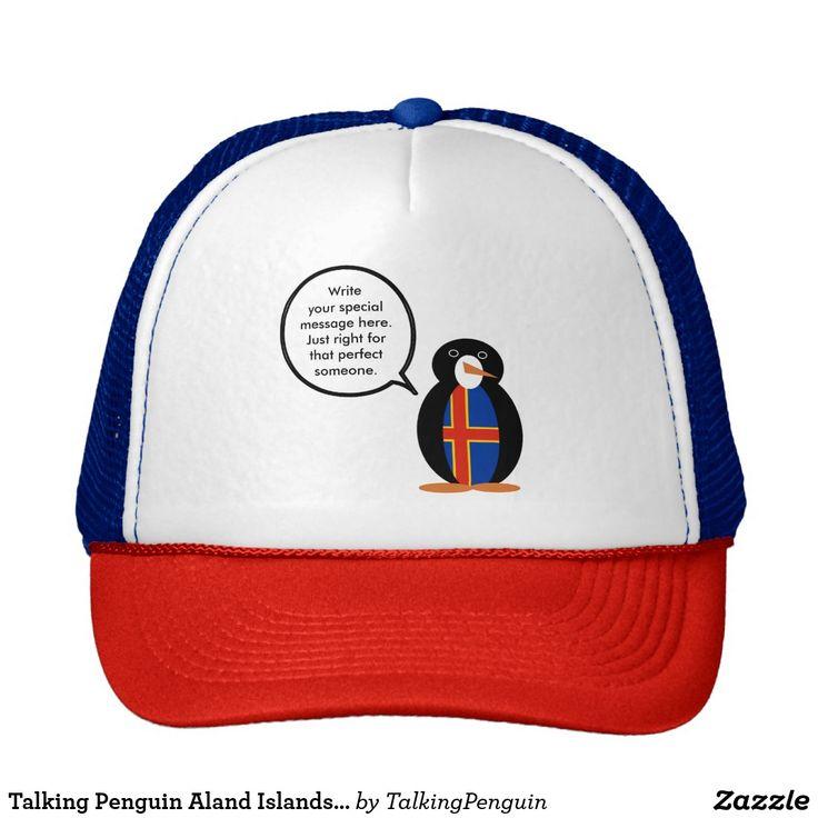 Talking Penguin Aland Islands Flag Trucker Hat