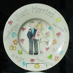 Extra large pottery ceramic plate customised personalised wedding just married