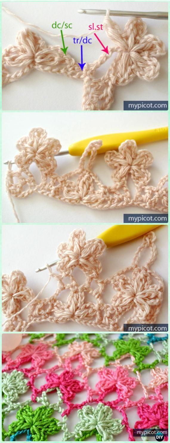 Crochet Openwork Flower Stitch Free Pattern [Five petals] - Crochet Flower Stitch Free Patterns