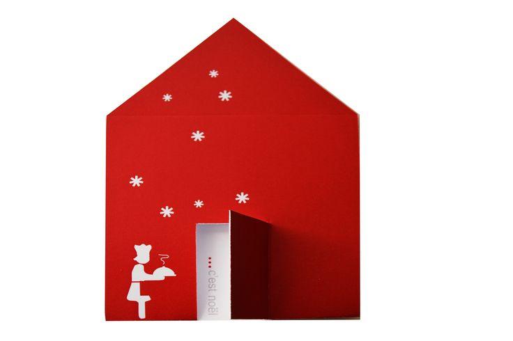biglietto pop up in carta in cui scene natalizie vengono rappresentate in chiave ironica con personaggi immaginari.  - natale, christmas, greeting, paper -