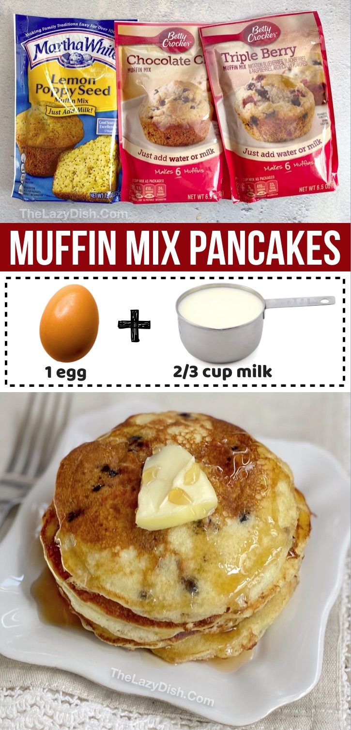 Muffin Mix Pancakes Easy Breakfast Idea With Just 3 Ingredients Recipe Breakfast Recipes Easy Food Quick And Easy Breakfast
