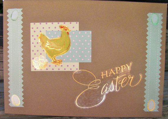 Easter Rooster  handmade card FWB easter card by RogueKissedCraft