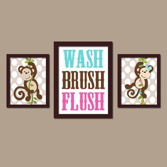 MONKEY Bathroom Wall Art CANVAS or Prints Boy Girl by TRMdesign