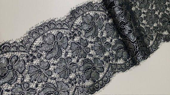 Black lace Trimming with silver glitter Alencon Lace Bridal