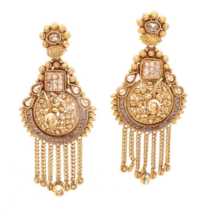 Statement matte finish gold plated rajwada dangle earrings with chains studded with kundan and cubic zircon. Limited Availability. Metal: Alloy Plating: 5KT (1 gram) Gold Stone: Cubic Zirconia Width: