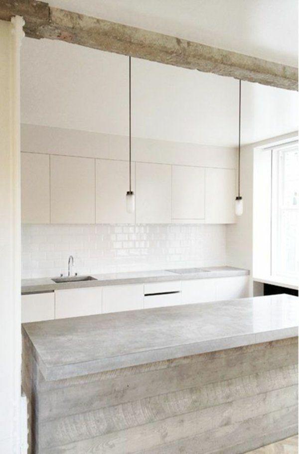 moderne kchen mit kochinsel kchenblock freistehend minimalistisch - Kchen Modern Wei Mit Kochinsel