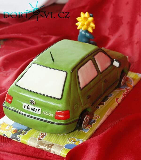 Skoda Felicia car cake. 3D cake with the Maggie Simpson. 3D dort auto škoda Felicia a Maggie Simpson.