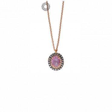 Μικρό πολύτιμο κολιέ ροζέτα από ροζ χρυσό Κ18 με οβάλ ροζ ζαφείρι, 38 διαμάντια & ενσωματωμένη αλυσίδα   Κοσμηματοπωλείο ΤΣΑΛΔΑΡΗΣ στο Χαλάνδρι #ροζετα #ζαφειρι #διαμαντια #χρυσο #κολιε