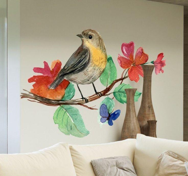 Adesivo pássaro no ramo em aguarela