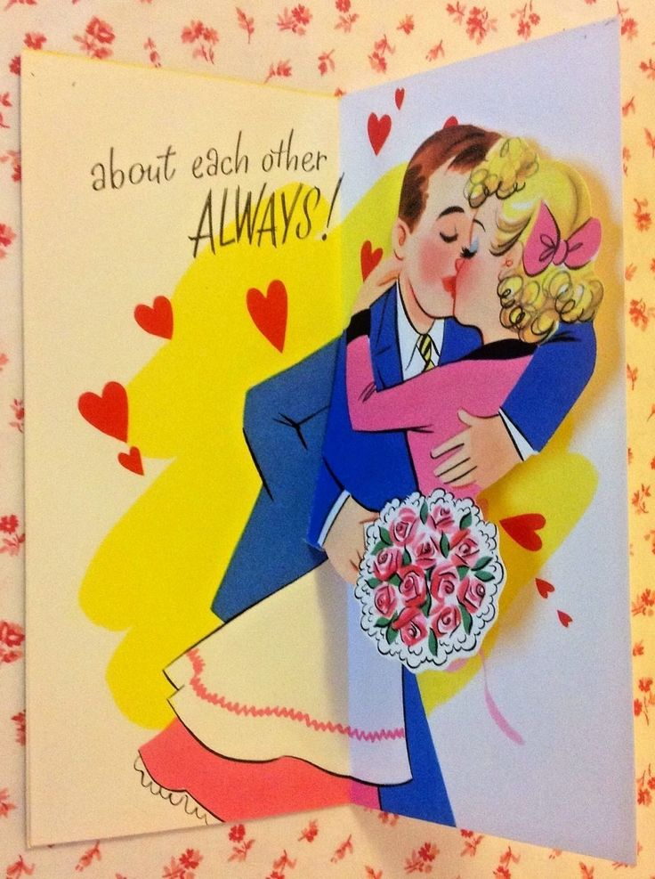 wedding anniversary greeting cardhusband%0A Vintage     s UNUSED PopUp Anniversary Greeting Card with Cute   s Couple  in Collectibles