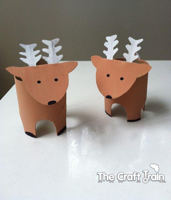 renos hechos con tubos de cartón