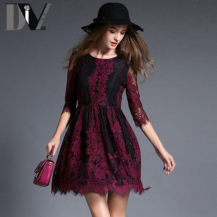 DIV New Arrival Lace Embroidery Dresses Women O-Neck Print Patchwork Half Sleeve Casual Irregular Hem Dresses