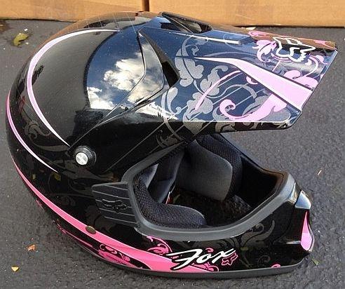 Fox Racing Motorcross Helmet  (Women's Used Motorcycle Helmets, Pink & Black)