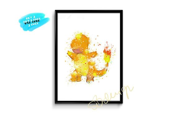 Charmander Watercolor Prints Pokemon Prints Pokemon Watercolor