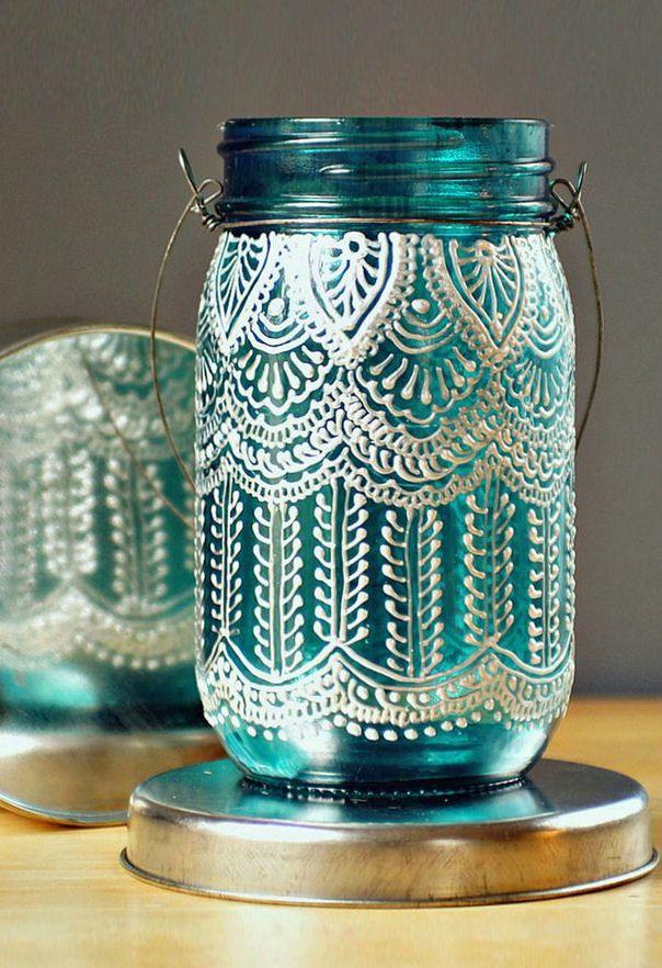 Henna Lace Mason Lantern