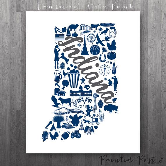 Indianapolis Indiana Landmark State Giclée Print  by PaintedPost, $15.00  #paintedpoststudio - Butler University - Bulldogs- What a great and memorable gift for graduation, sorority, hostess, and best friend gifts! Also perfect for dorm decor! :)