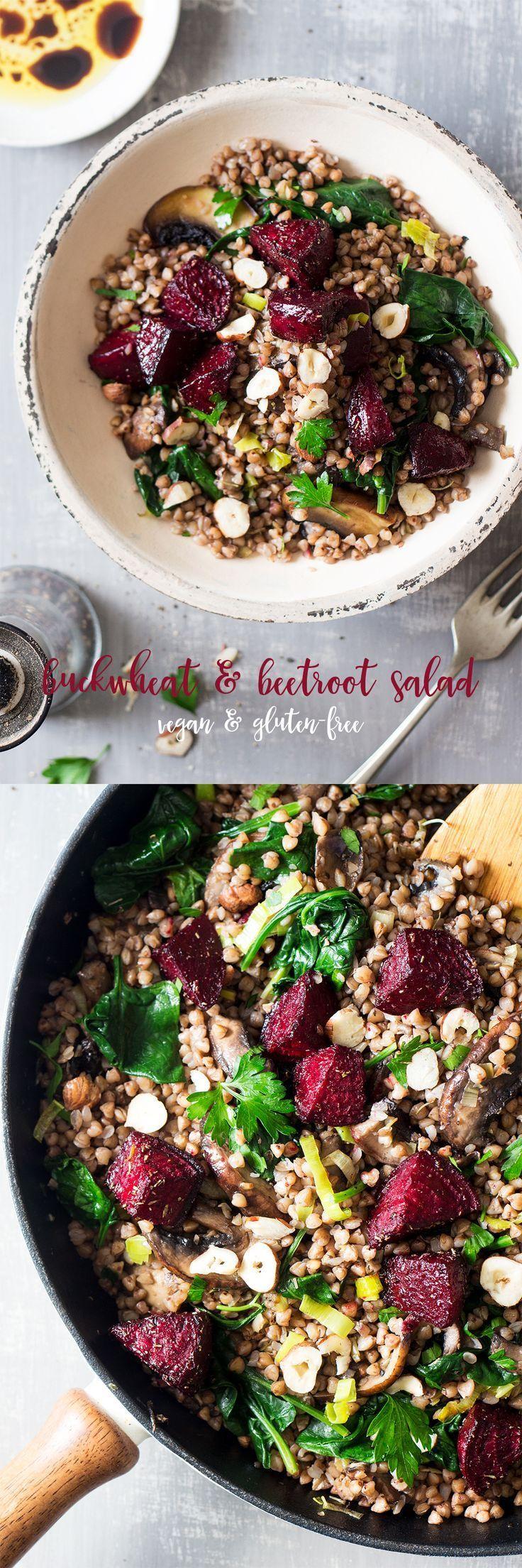 Warm buckwheat and beetroot salad