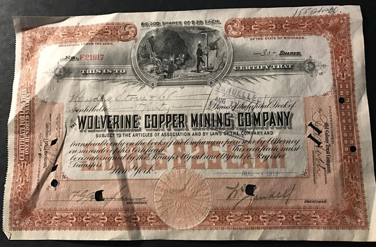 Wolverine Copper Mining Company Stock Certificate 1919 Michigan by IroquoisCopper on Etsy