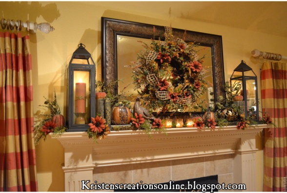 My Fall Mantle With A Warm Glow, I wanted my mantle to have a warm and cozy feeling for fall. I made a wreath with rusty red and gold colored sunflowers and hung it on the mirror. Then I added the lanterns with candles on each side. Oh how I love lanterns! I added some sunflowers, berries, greenery, votives, pumpkins, books and a pheasant to finish it off.   http://www.kristenscreationsonline.blogspot.com/, Living Rooms Design