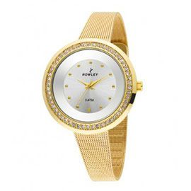 Precioso #reloj nowley mujer de caja de metal dorado con zirconitas engarzadas y pulsera de acero dorada tipo malla milanesa. #espectacular #moda #relojesdemoda #relojesonline #precioso