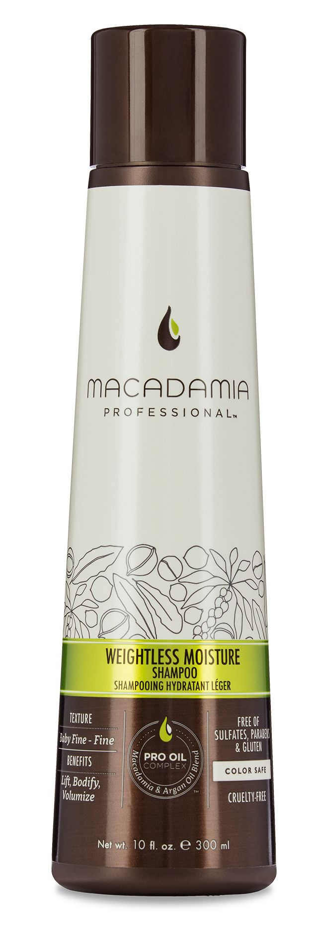 Macadamia Professional Weightless Moisture Shampoo is a lightweight, moisturizing shampoo that provides lift, body, and volume to baby fine to fine hair textures.