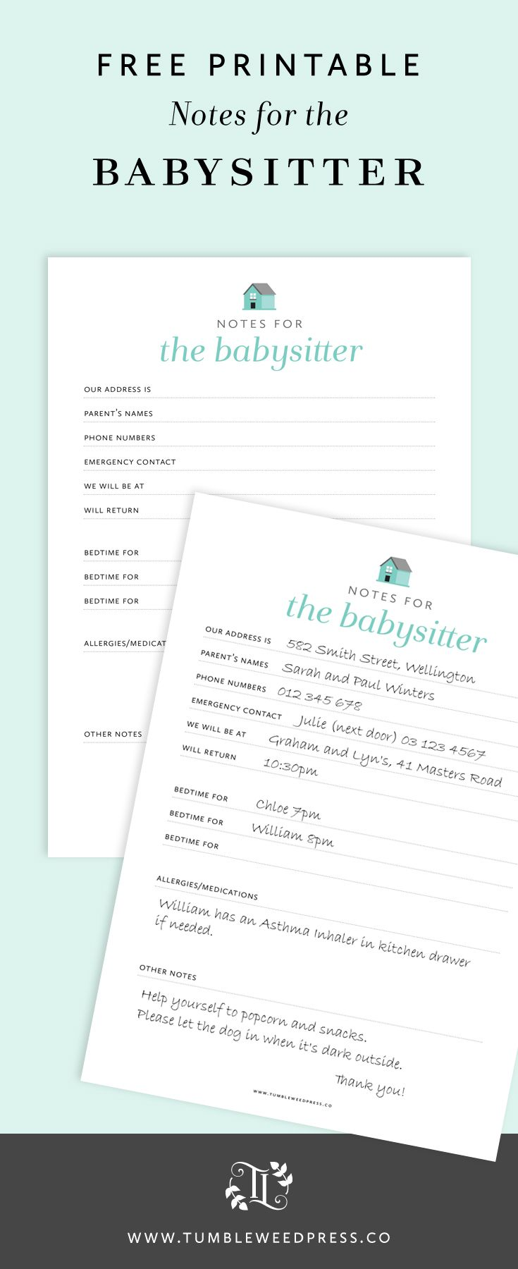 FREE PRINTABLE - Everything your babysitter needs to know.