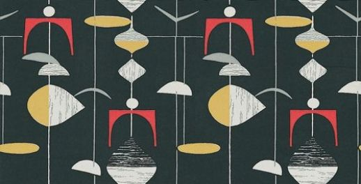 Mobiles (210214) - Sanderson Wallpapers - A classic design of random mobile shapes in bold colour combinations. Shown in the black and lemon with red highlights. Other colourways available. Please request sample for true colour match. Wide width.