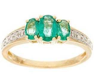 Oval 3-Stone Zambian Emerald Band Ring 14K Gold 0.65 cttw