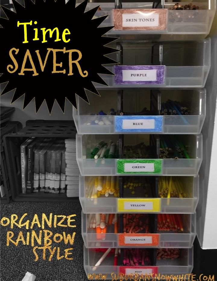 This method of organizing marker, crayons, and colored pencils has made my classroom run so smoothly! They stay organized and last so much longer!