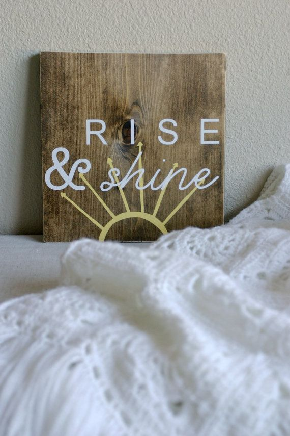 HandPainted Wood Sign // Rise Shine by CupcakeEtsy on Etsy, $26.00
