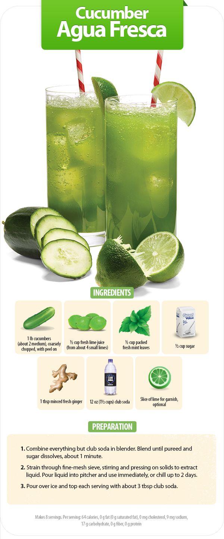 A recipe for cucumber agua fresca from Walmart World magazine. #cucumber #drink #recipes #mint #lime