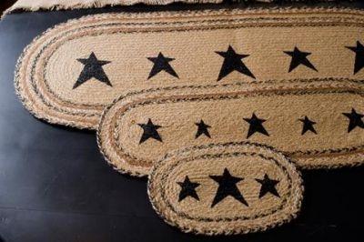 Kettle Grove Placemat or Runners Jute Oval Stencil Stars-Kettle Grove,Placemats,Runners,braided jute,Stencil,Stars,victorian heart