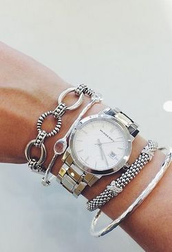 Burberry Watch With Beautiful Silver Bangles Bracelets
