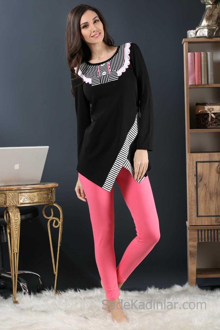2018 Pijama Takımları Pembe Siyah İki Renkli Yapraz Kesim