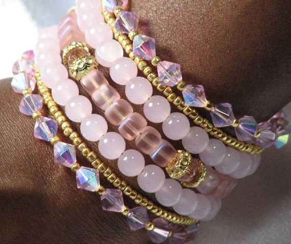 Pink Quartz and Gold Plated Cuff Bracelet by BeadtifulDesigns, $26.00
