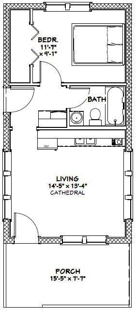 16x30 Tiny House -- #16X30H13 -- 480 sq ft - Excellent Floor Plans                                                                                                                                                                                 More