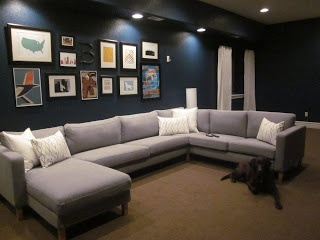 Ikea Karlstad sectional with art wall above our little urban Life basement reveal | Sofa Search | Pinterest | Ikea sectional For the home and Family rooms : ikea karlstad sectional - Sectionals, Sofas & Couches