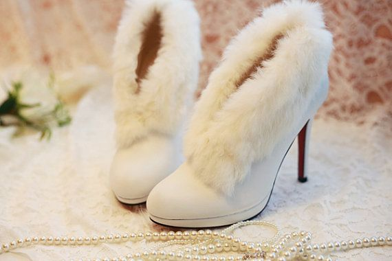 white fur trim ankle boots winter bare heels wedding shoes bridal ...