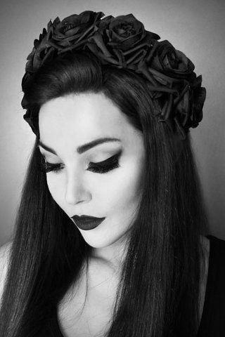 Black Roses gothic headband gothic victorian style goth