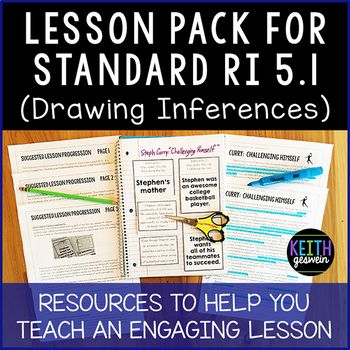 """This product contains several resources to help you teach an engaging lesson on CCSS ELA Standard RI 5.1. RI 5.1 says students should, """"Quote accurately from a text when explaining what the text says explicitly and when drawing inferences from the text."""" This free download contains the following resources: Lesson Progression"""