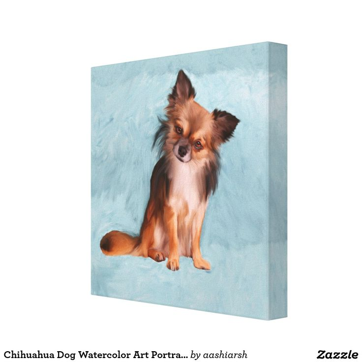 #Chihuahua #Dog Watercolor Art #Portrait #Painting #Canvas Print